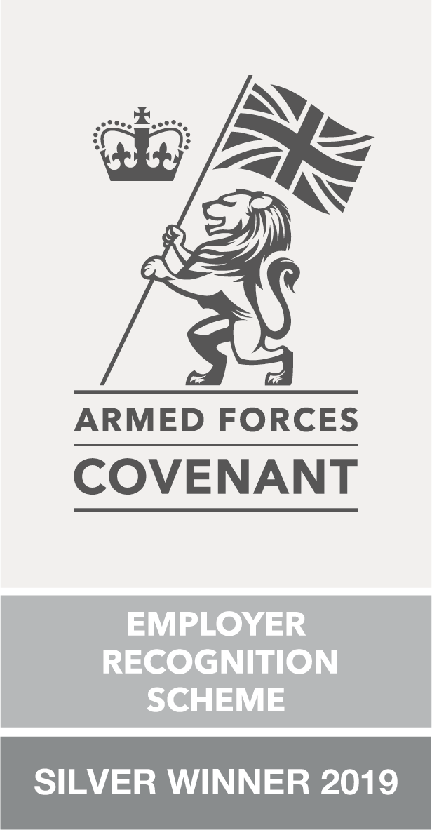 Armed Forces Covenant Employer Recognition Scheme Silver Winner 2019 badge